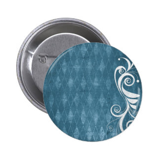 Shabby Blue French Toile Pinback Button