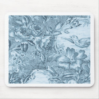 Shabby Blue French Toile Mouse Pad