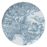 Shabby Blue French Toile Party Plate