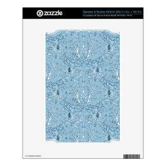Shabby Blue French Toile Skins For NOOK