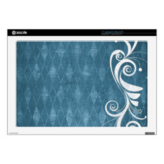 "Shabby Blue French Toile 17"" Laptop Skin"