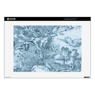 Shabby Blue French Toile Laptop Decals