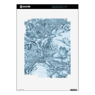 Shabby Blue French Toile Decals For iPad 2