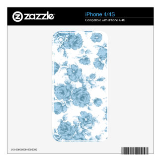 Shabby Blue French Toile Decals For The iPhone 4