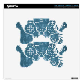 Shabby Blue French Toile Decal For PS3 Controller