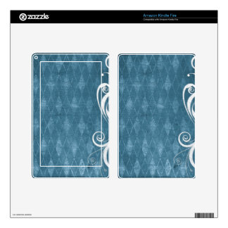 Shabby Blue French Toile Decals For Kindle Fire