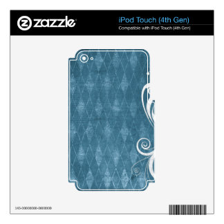 Shabby Blue French Toile Skin For iPod Touch 4G