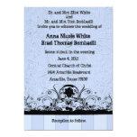 "Shabby  Blue Old West Leather Wedding Invitation 5"" X 7"" Invitation Card"
