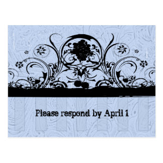 Shabby Blue Old West Tooled Leather RSVP Postcard