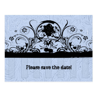 Shabby Blue Old West Tooled Leather Save the Date Postcard