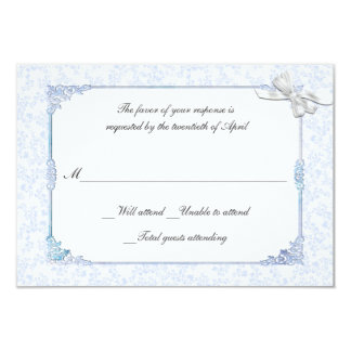 Shabby Blue Victorian Style Wedding RSVP Card