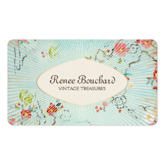 Shabby Blue Vintage Watercolor Floral Double-Sided Standard Business Cards (Pack Of 100)