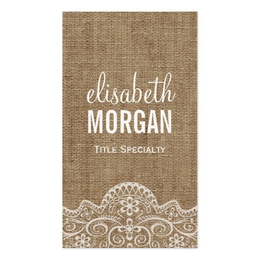 Shabby Burlap with Elegant Lace - Retro Rustic Business Cards (front side)