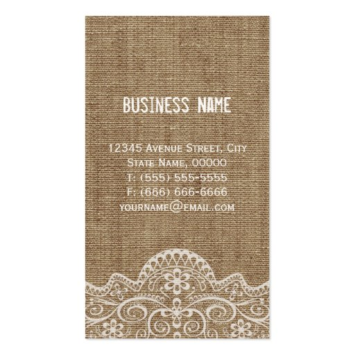 Shabby Burlap with Elegant Lace - Retro Rustic Business Cards (back side)