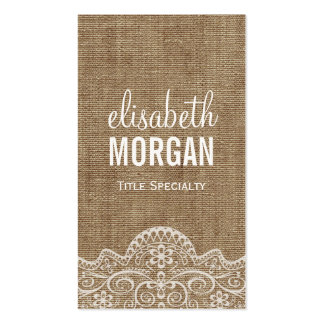Shabby Burlap with Elegant Lace - Retro Rustic Double-Sided Standard Business Cards (Pack Of 100)