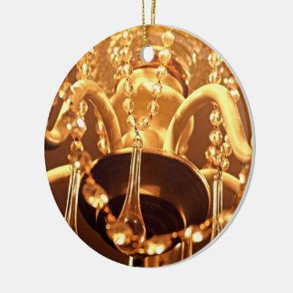 Shabby Chandelier Bling 1-Gold ROUND ORNAMENT