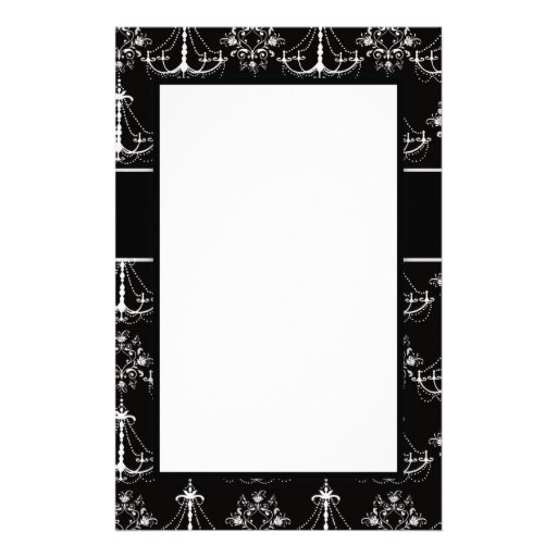 shabby chandelier white black damask design personalized stationery
