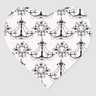 shabby chandelier white black damask heart sticker