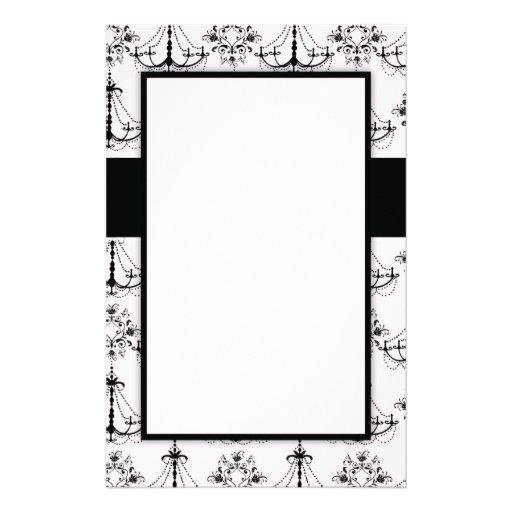 shabby chandelier white black damask pattern custom stationery