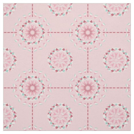Shabby Chic abstract floral mosaic in pink Fabric