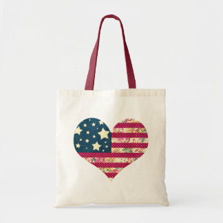 Shabby Chic | American Flag Heart Tote Bag
