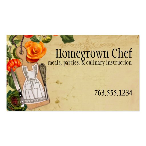 Shabby chic apron knife whisk chef catering cards double for Catering business cards samples
