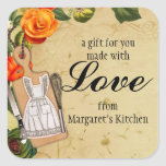 Shabby chic apron knife whisk food gift tag label square sticker