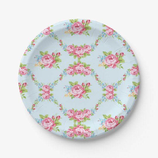 Shabby chicbaby bluered rosesvictorianfloralp paper plate  sc 1 st  Zazzle : victorian paper plates - pezcame.com