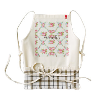 Shabby chic,baby blue,red roses,victorian,floral,p zazzle HEART apron