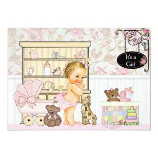 Shabby Chic Baby Girl Pink Baby Shower Invitation