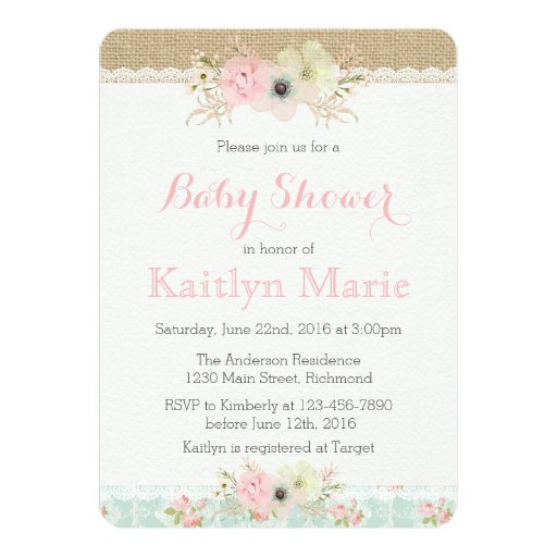 Shabby Chic Baby Shower Invitation | Zazzle