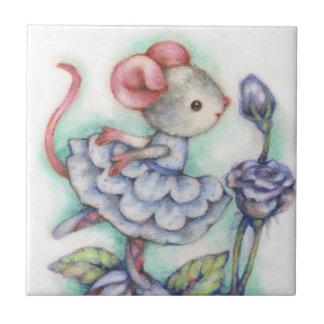 Shabby Chic Ballerina Mouse Girl Dancer Sweet Ceramic Tile