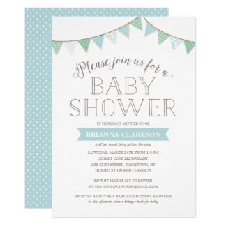 Shabby Chic Banners Blue | Baby Shower Invitation