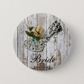 shabby chic barn wood country wedding button