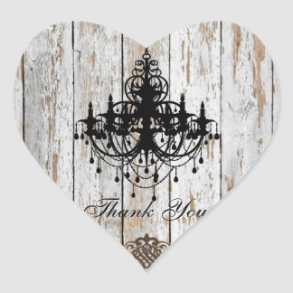 shabby chic barn wood country wedding heart sticker