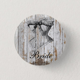 shabby chic barn wood country wedding pinback button