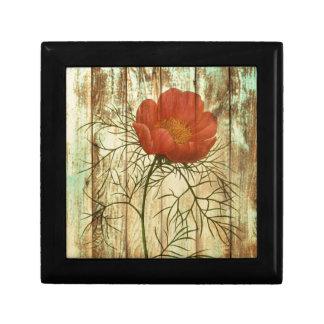 shabby chic barn wood poppy flower jewelry box