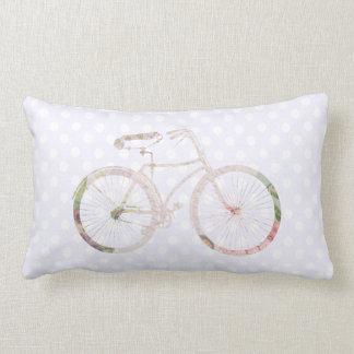 Shabby Chic Bike on lilac polka dots Pillow