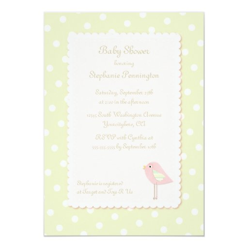 shabby chic bird polka dots baby shower invitation 5 x 7 invitati