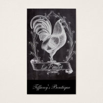 shabby chic blackboard french country rooster business card