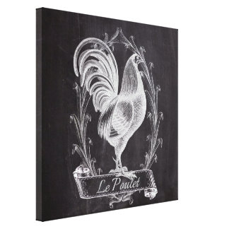 shabby chic blackboard french country rooster canvas print