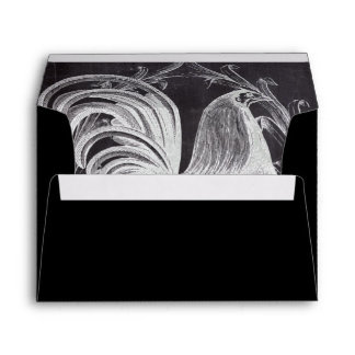 shabby chic blackboard french country rooster envelope
