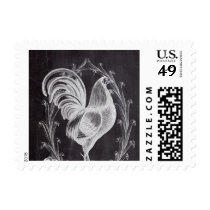 shabby chic blackboard french country rooster postage