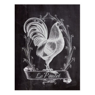 shabby chic blackboard french country rooster postcard