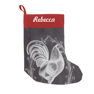 shabby chic blackboard french country rooster small christmas stocking