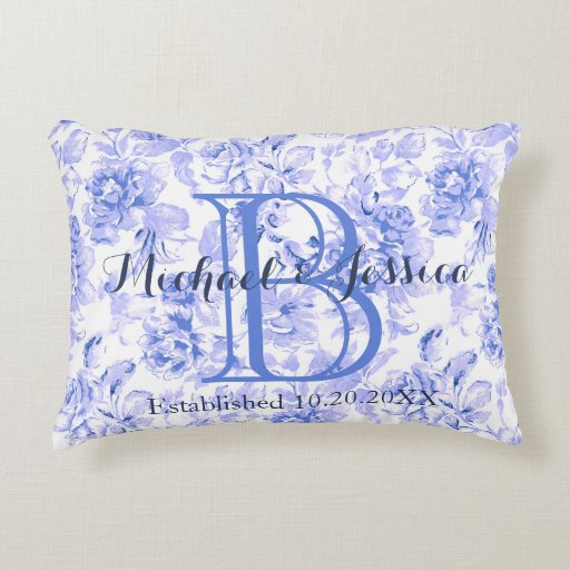 Shabby Chic Floral Throw Pillows : Shabby Chic Blue Floral Monogram Keepsake Pillow Accent Pillow Zazzle