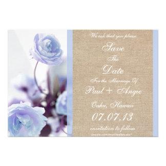 Shabby Chic Blue Peony Burlap Save The Date Invite