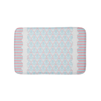 Shabby Chic Blue & Pink Damask Bathroom Mat