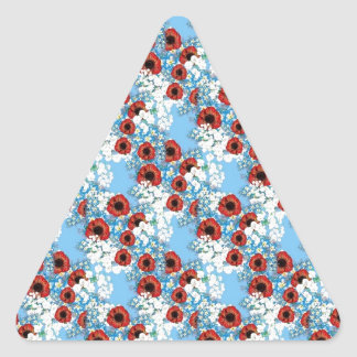 Shabby chic blue red floral flower print by LeahG Triangle Sticker