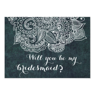 Shabby Chic Blue Vintage Paisley Bridesmaid Card
